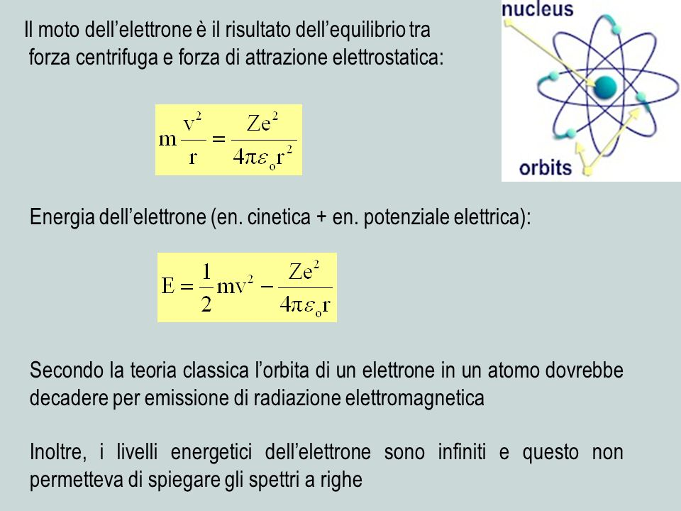 Il moto dell'elettrone è il risultato dell'equilibrio tra