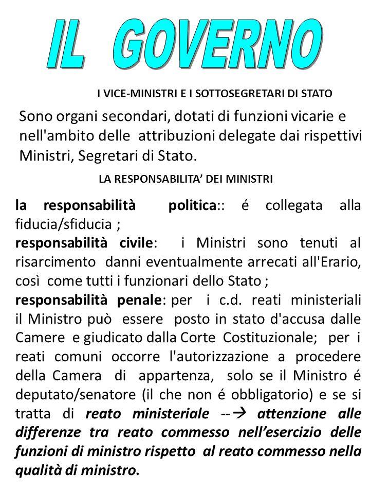 IL GOVERNOI VICE-MINISTRI E I SOTTOSEGRETARI DI STATO.