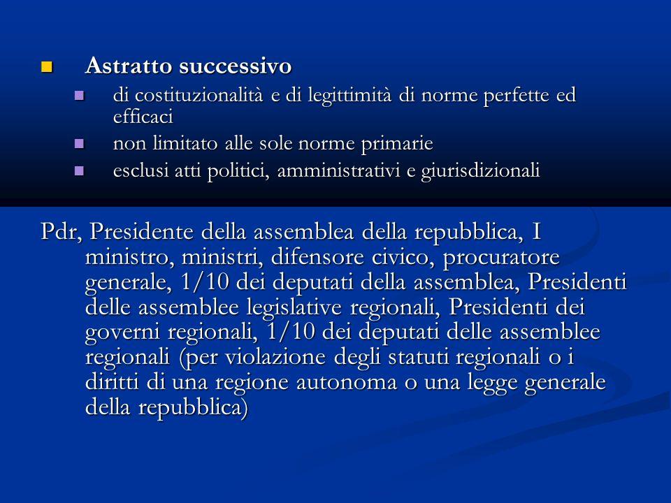 Astratto successivo di costituzionalità e di legittimità di norme perfette ed efficaci. non limitato alle sole norme primarie.