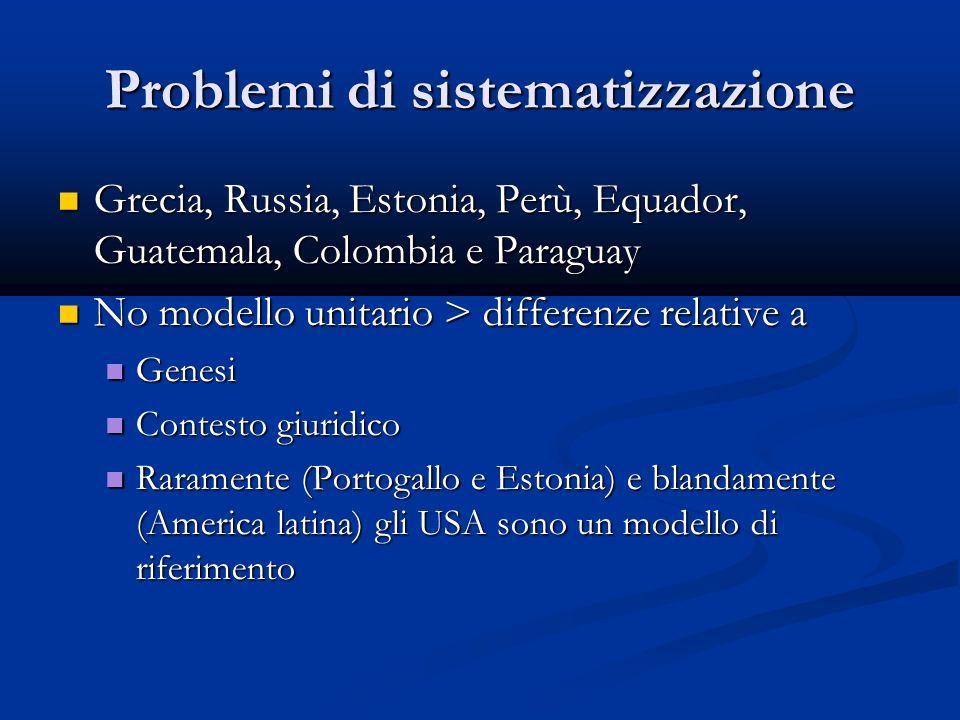 Problemi di sistematizzazione