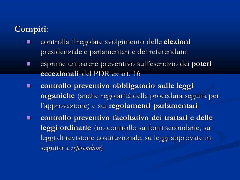Compiti: controlla il regolare svolgimento delle elezioni presidenziale e parlamentari e dei referendum.