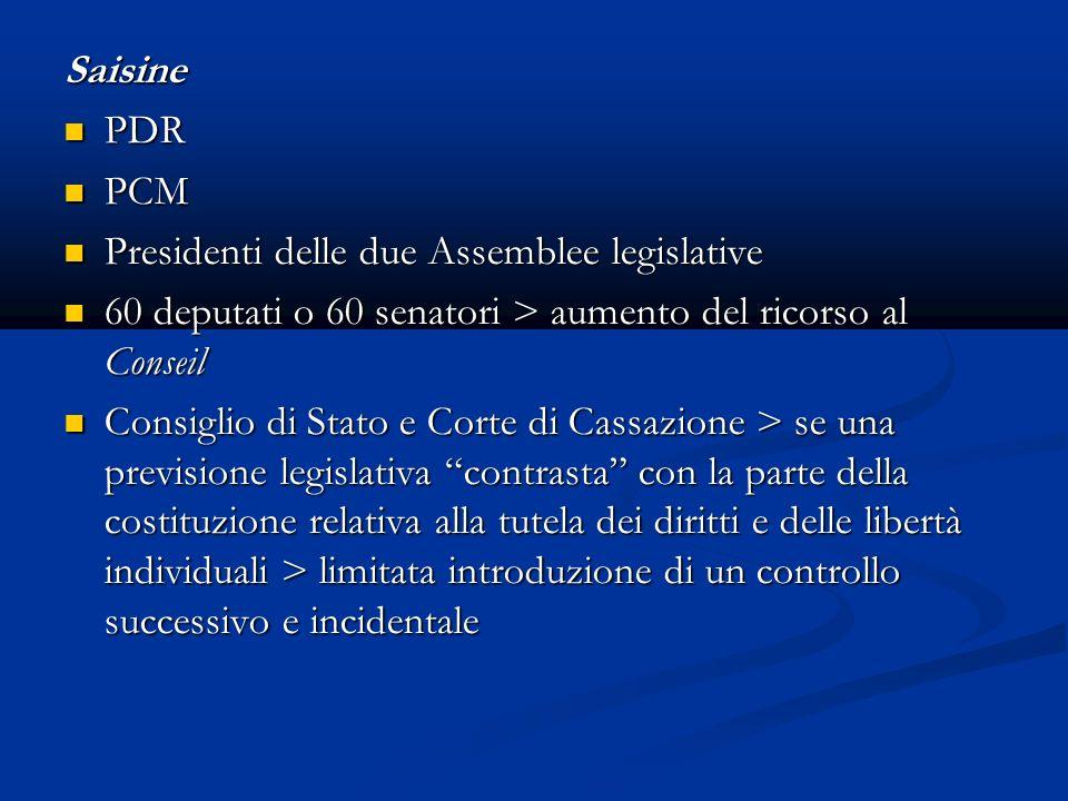 Saisine PDR. PCM. Presidenti delle due Assemblee legislative. 60 deputati o 60 senatori > aumento del ricorso al Conseil.