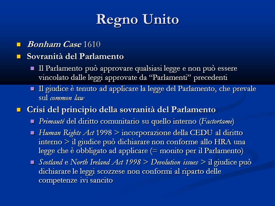 Regno Unito Bonham Case 1610 Sovranità del Parlamento