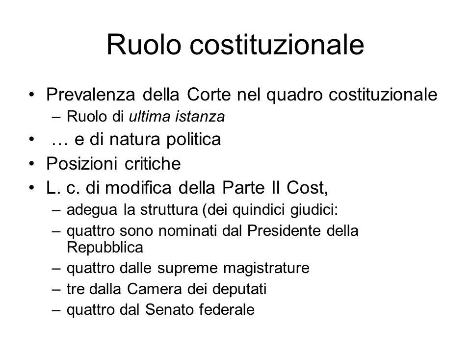 Ruolo costituzionale Prevalenza della Corte nel quadro costituzionale