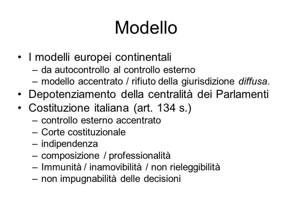 Modello I modelli europei continentali