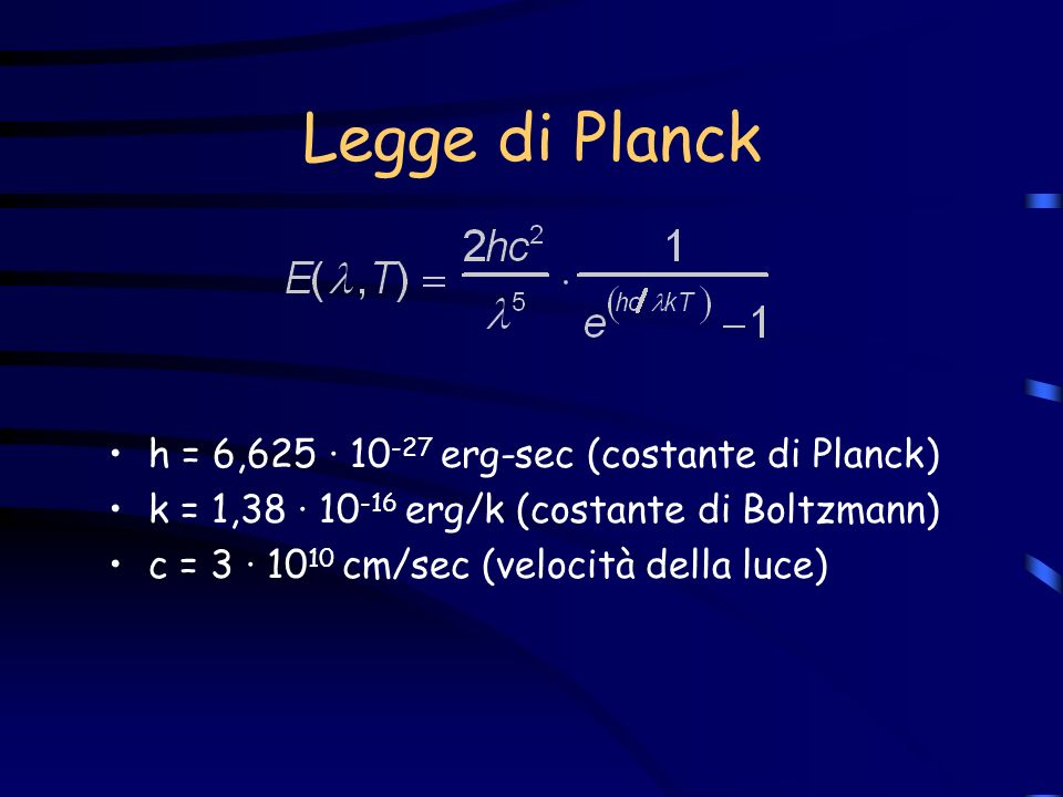 Legge di Planck h = 6,625 · 10-27 erg-sec (costante di Planck)