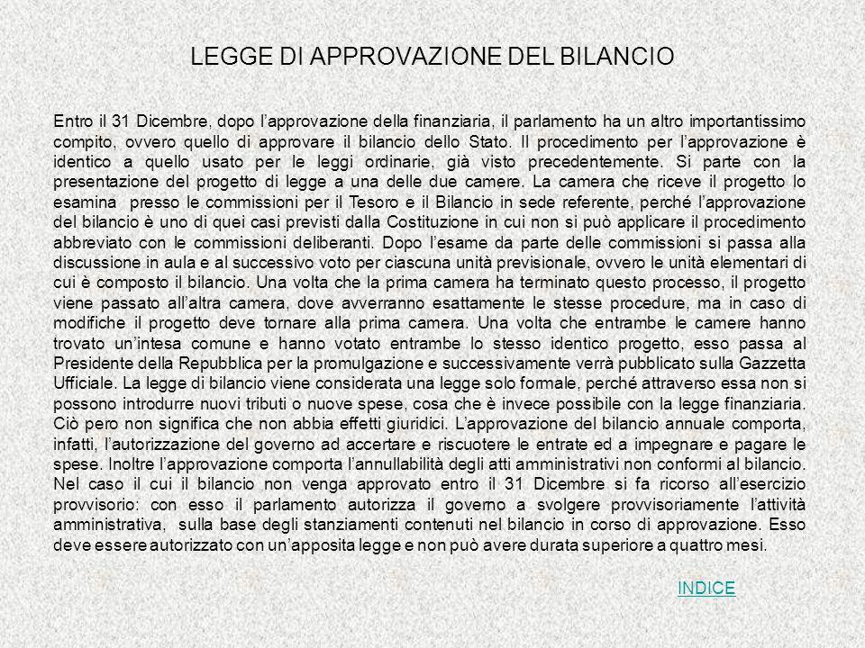 LEGGE DI APPROVAZIONE DEL BILANCIO
