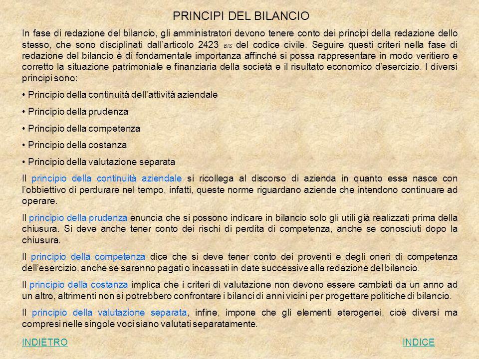 PRINCIPI DEL BILANCIO