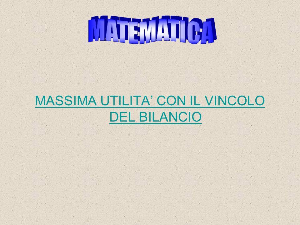 MASSIMA UTILITA' CON IL VINCOLO DEL BILANCIO