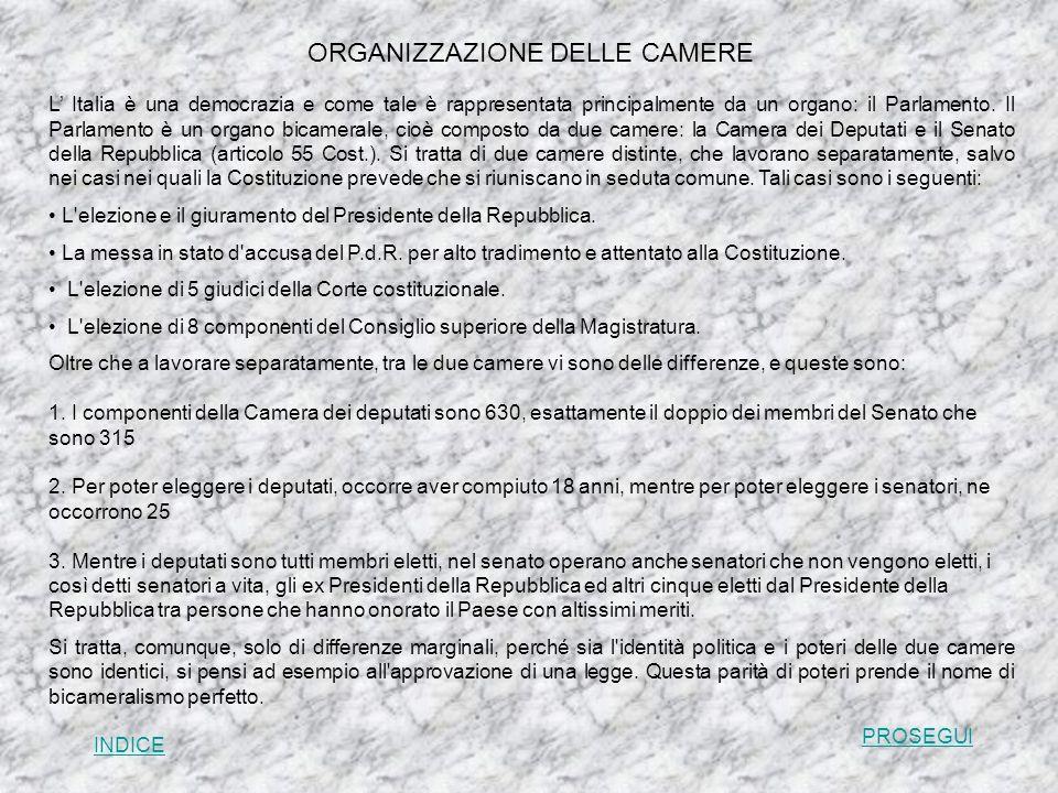ORGANIZZAZIONE DELLE CAMERE