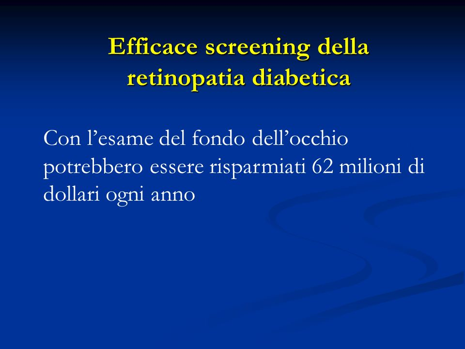 Efficace screening della retinopatia diabetica