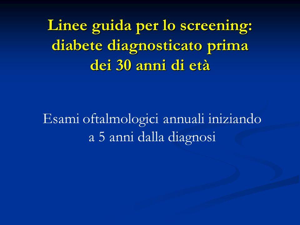 Linee guida per lo screening: diabete diagnosticato prima