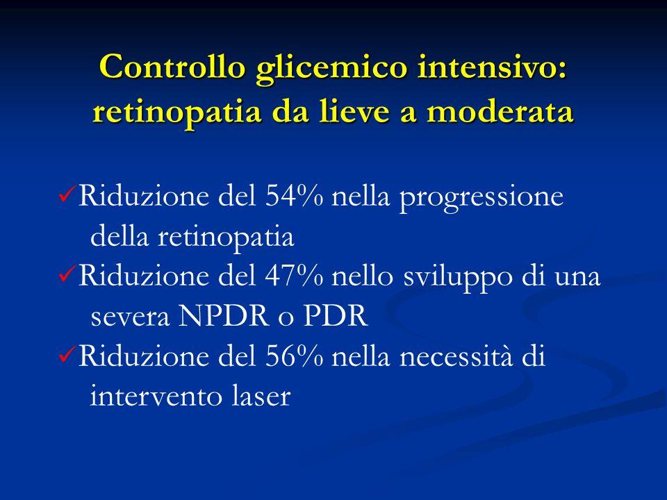 Controllo glicemico intensivo: retinopatia da lieve a moderata