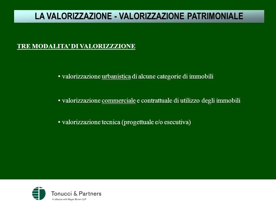 LA VALORIZZAZIONE - VALORIZZAZIONE PATRIMONIALE