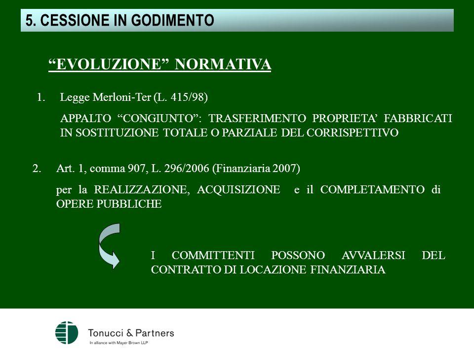 5. CESSIONE IN GODIMENTO CESSIONE IN GODIMENTO EVOLUZIONE NORMATIVA