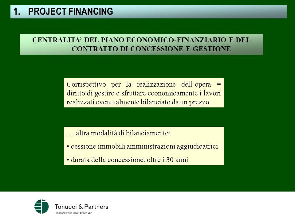 PROJECT FINANCING CENTRALITA' DEL PIANO ECONOMICO-FINANZIARIO E DEL CONTRATTO DI CONCESSIONE E GESTIONE.