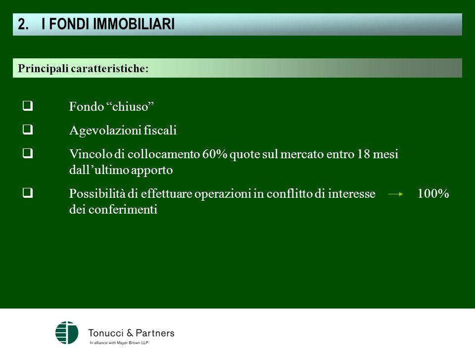 I FONDI IMMOBILIARI Fondo chiuso Agevolazioni fiscali