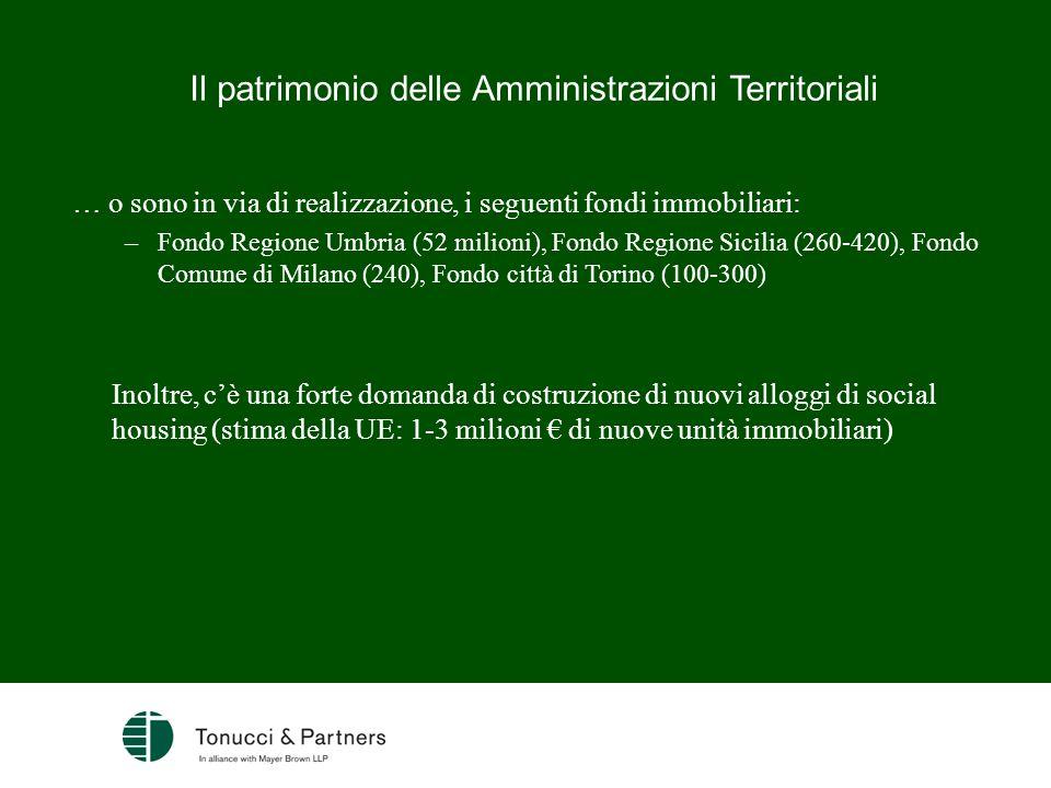 Il patrimonio delle Amministrazioni Territoriali