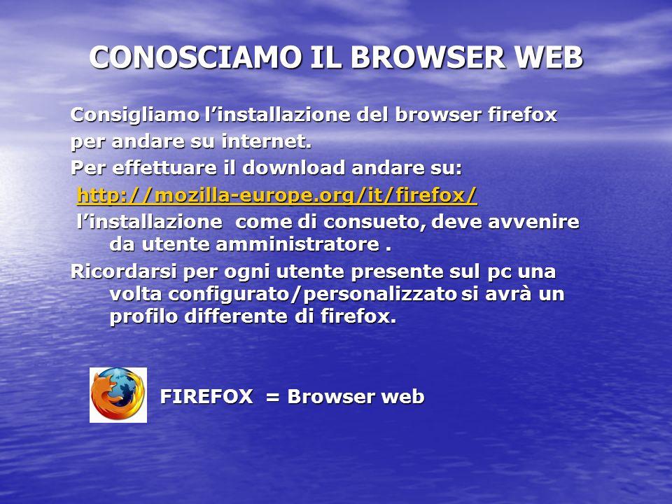 CONOSCIAMO IL BROWSER WEB
