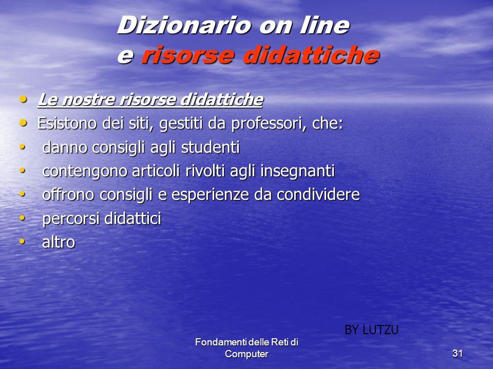 Dizionario on line e risorse didattiche