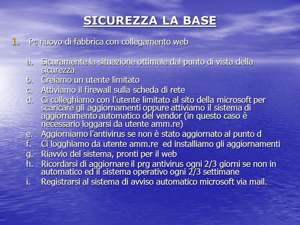 SICUREZZA LA BASE Pc nuovo di fabbrica con collegamento web