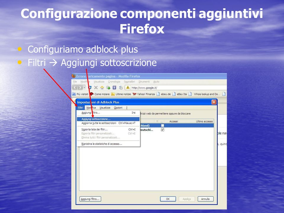 Configurazione componenti aggiuntivi Firefox