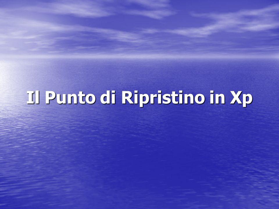Il Punto di Ripristino in Xp