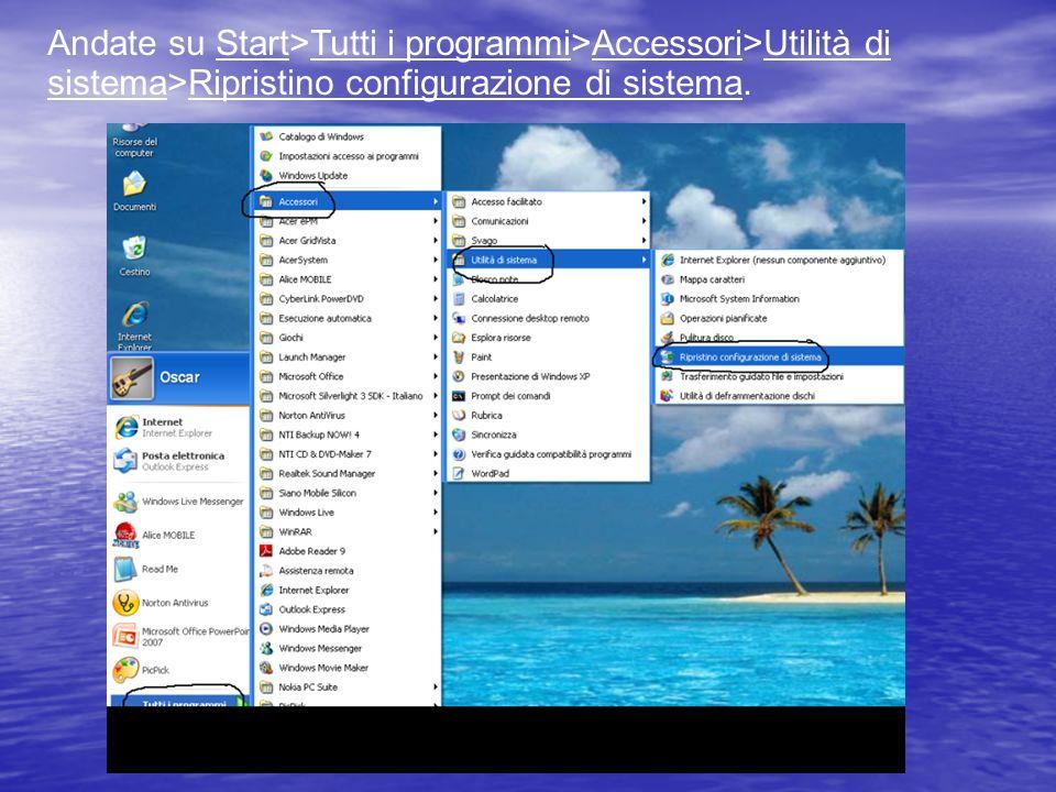Andate su Start>Tutti i programmi>Accessori>Utilità di sistema>Ripristino configurazione di sistema.