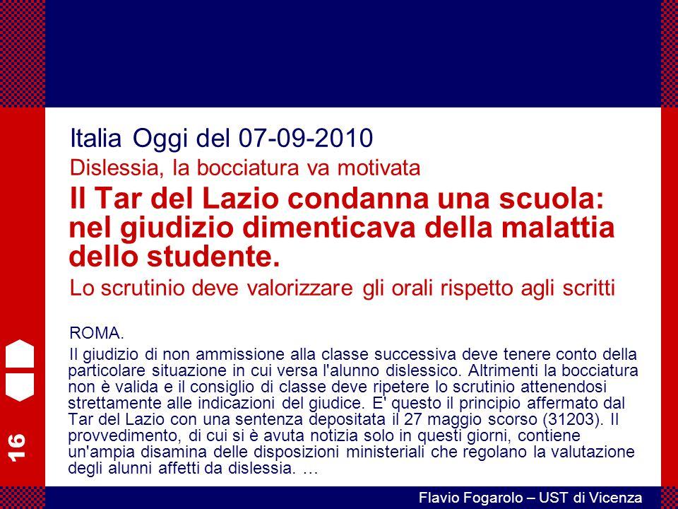 Italia Oggi del 07-09-2010 Dislessia, la bocciatura va motivata.