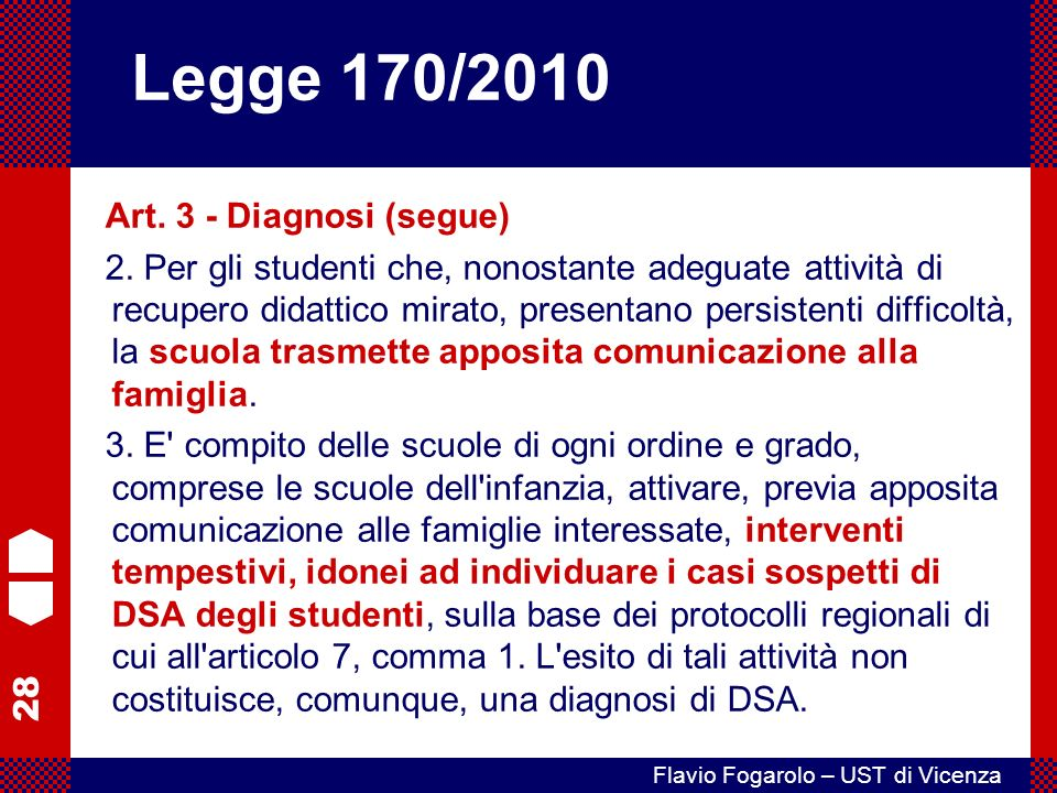 Legge 170/2010 Art. 3 - Diagnosi (segue)
