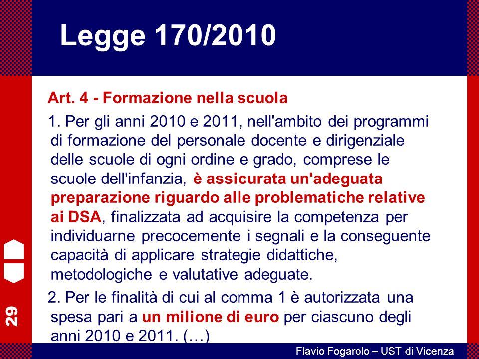 Legge 170/2010 Art. 4 - Formazione nella scuola