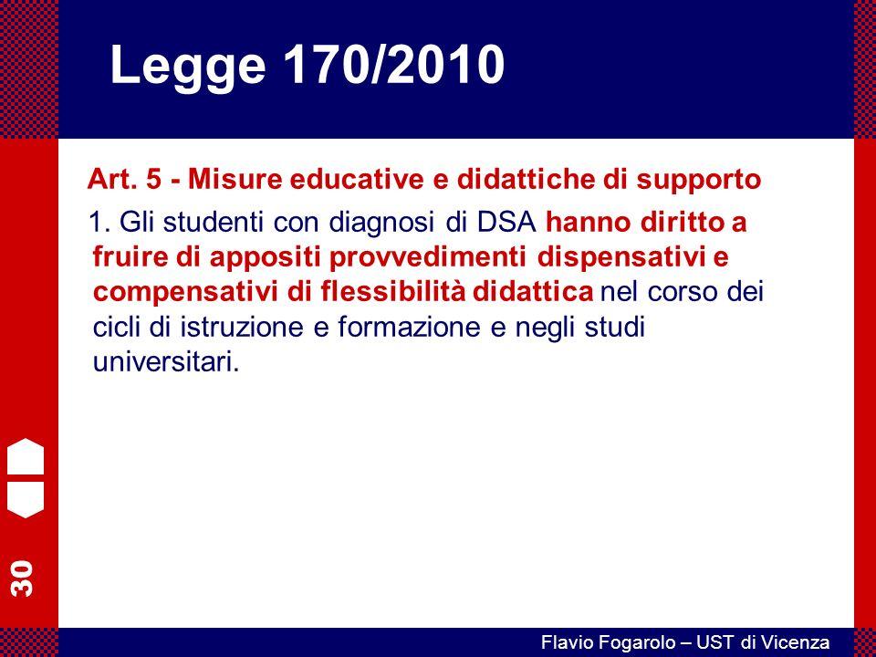 Legge 170/2010 Art. 5 - Misure educative e didattiche di supporto