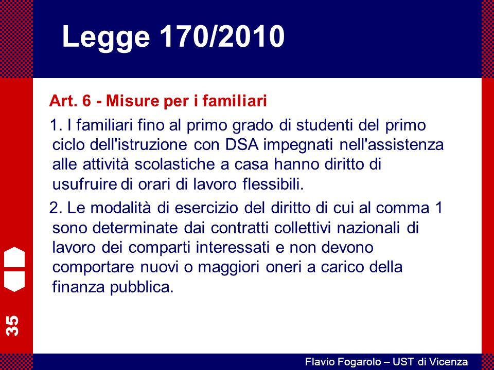 Legge 170/2010 Art. 6 - Misure per i familiari