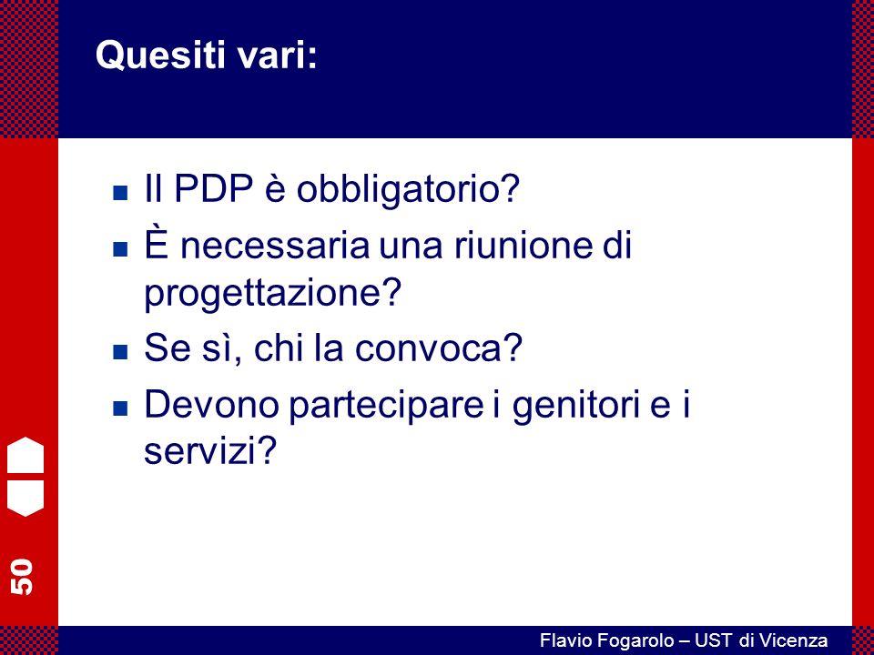 Quesiti vari: Il PDP è obbligatorio È necessaria una riunione di progettazione Se sì, chi la convoca