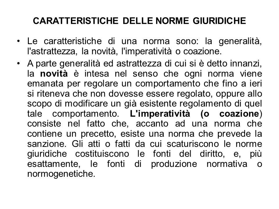 CARATTERISTICHE DELLE NORME GIURIDICHE