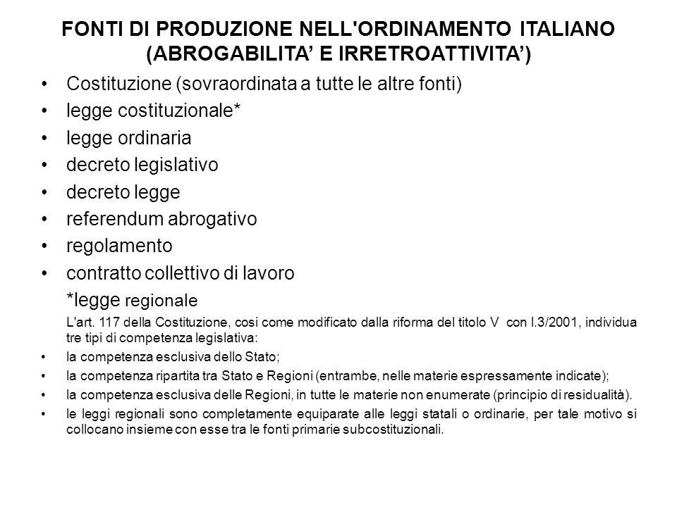Fonti di produzione nell ordinamento italiano (ABROGABILITA' E IRRETROATTIVITA')