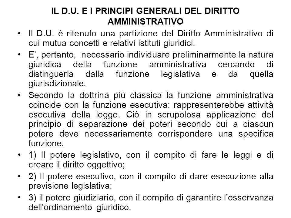 IL D.U. E I PRINCIPI GENERALI DEL DIRITTO AMMINISTRATIVO