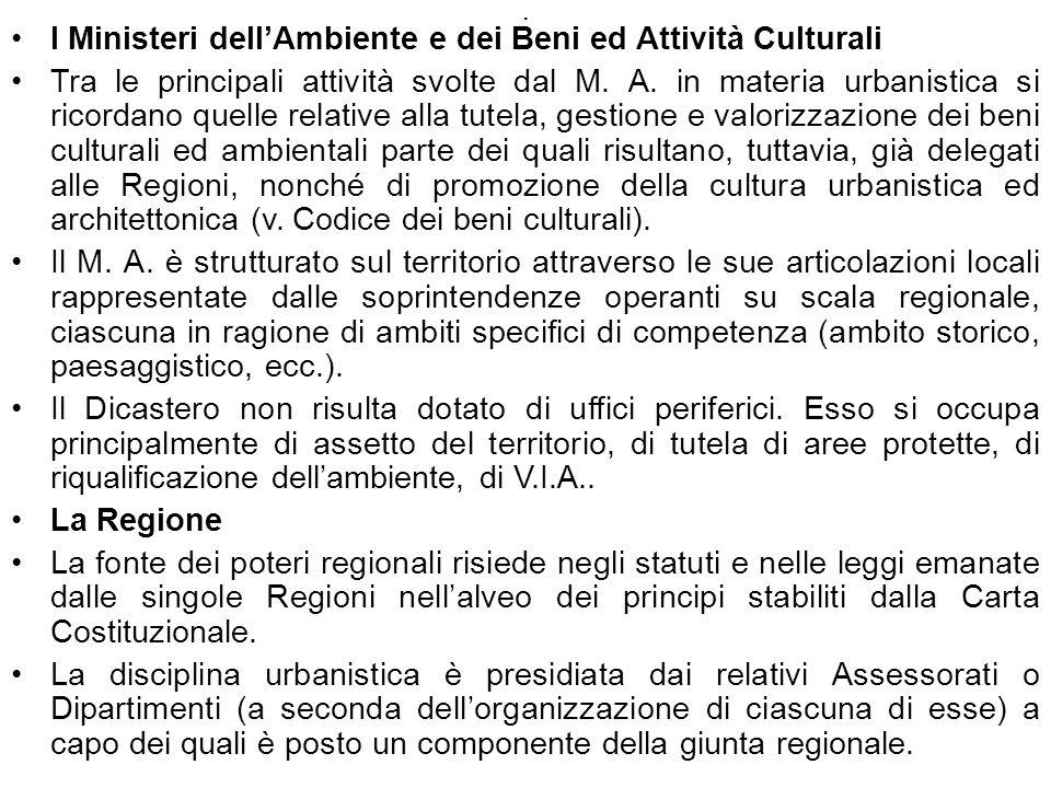 I Ministeri dell'Ambiente e dei Beni ed Attività Culturali