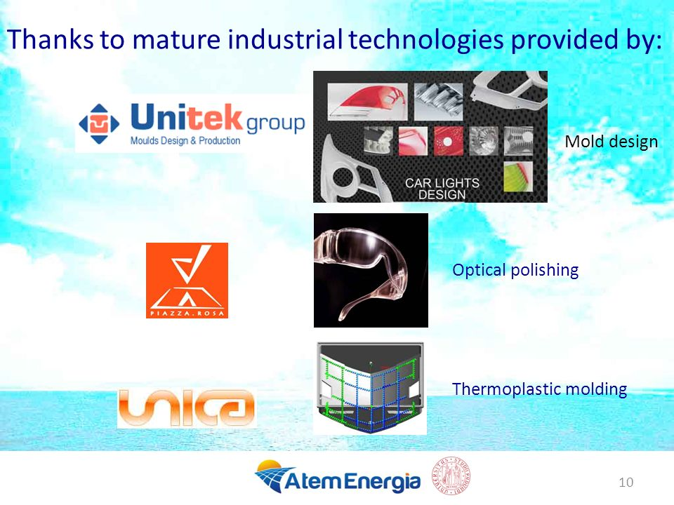 Thanks to mature industrial technologies provided by:
