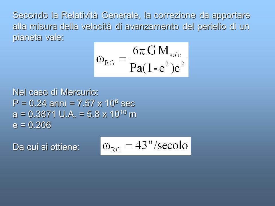 Secondo la Relatività Generale, la correzione da apportare alla misura della velocità di avanzamento del perielio di un pianeta vale: