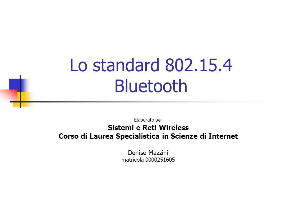 Lo standard 802.15.4 Bluetooth Sistemi e Reti Wireless