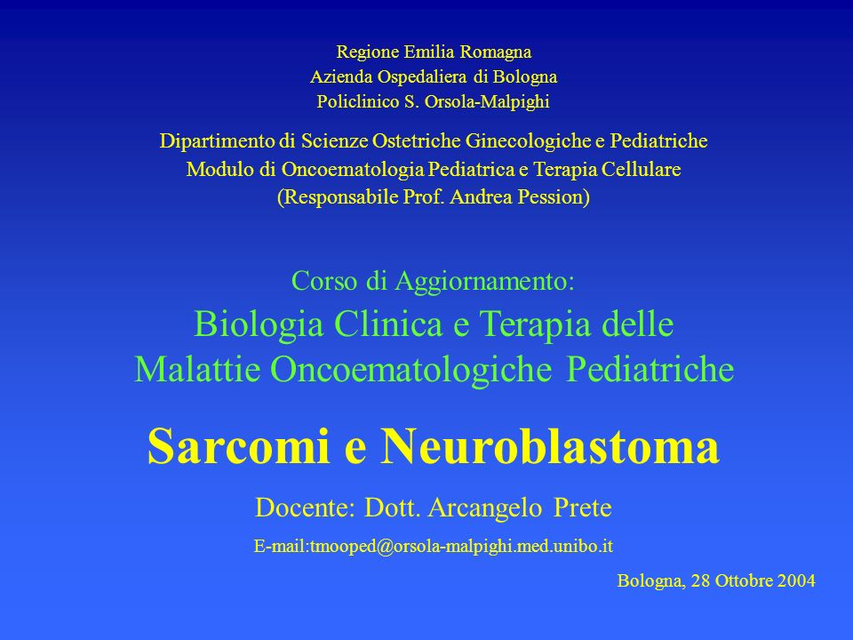 Sarcomi e Neuroblastoma