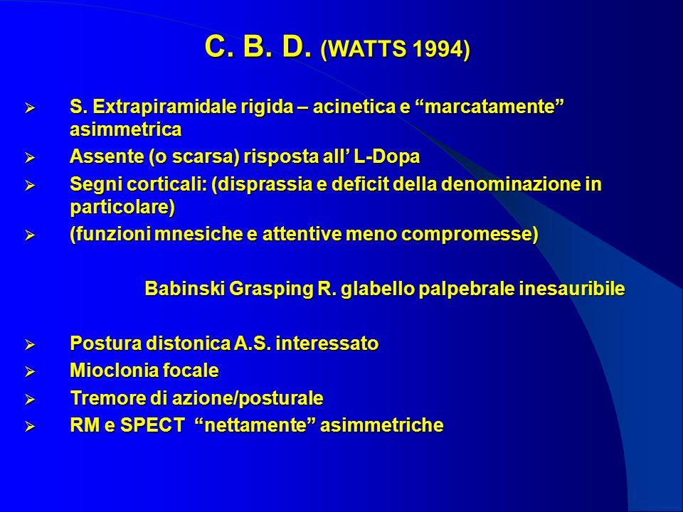 C. B. D. (WATTS 1994) S. Extrapiramidale rigida – acinetica e marcatamente asimmetrica. Assente (o scarsa) risposta all' L-Dopa.