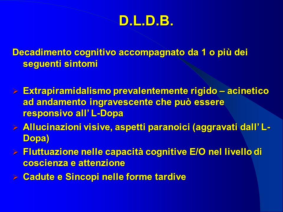 D.L.D.B. Decadimento cognitivo accompagnato da 1 o più dei seguenti sintomi.