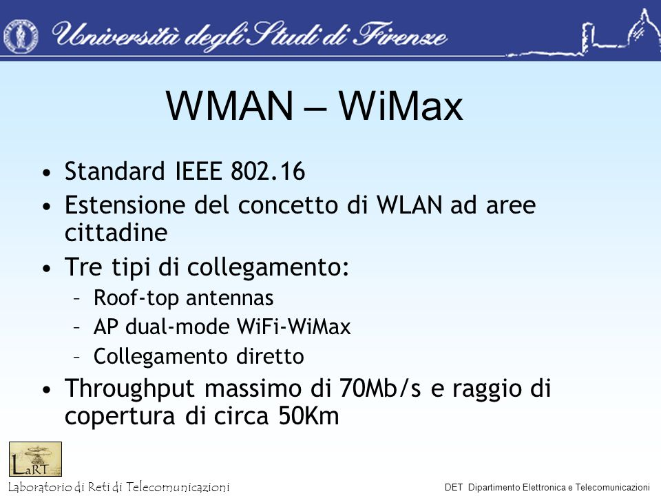 WMAN – WiMax Standard IEEE 802.16