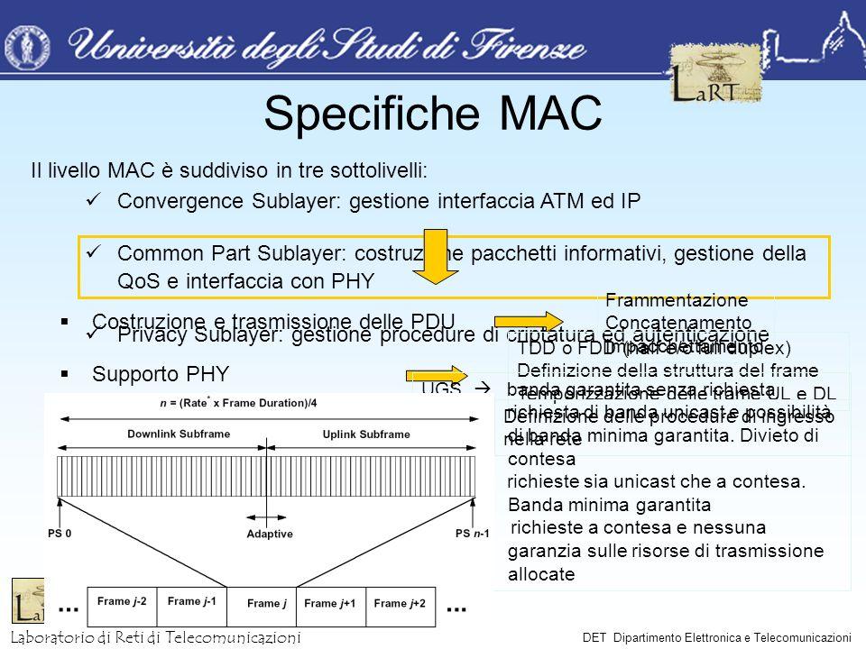 Specifiche MAC Il livello MAC è suddiviso in tre sottolivelli: