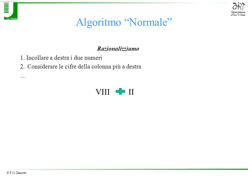 Algoritmo Normale VIII II Razionalizziamo