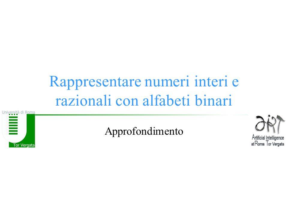 Rappresentare numeri interi e razionali con alfabeti binari