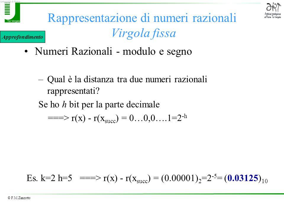 Rappresentazione di numeri razionali Virgola fissa