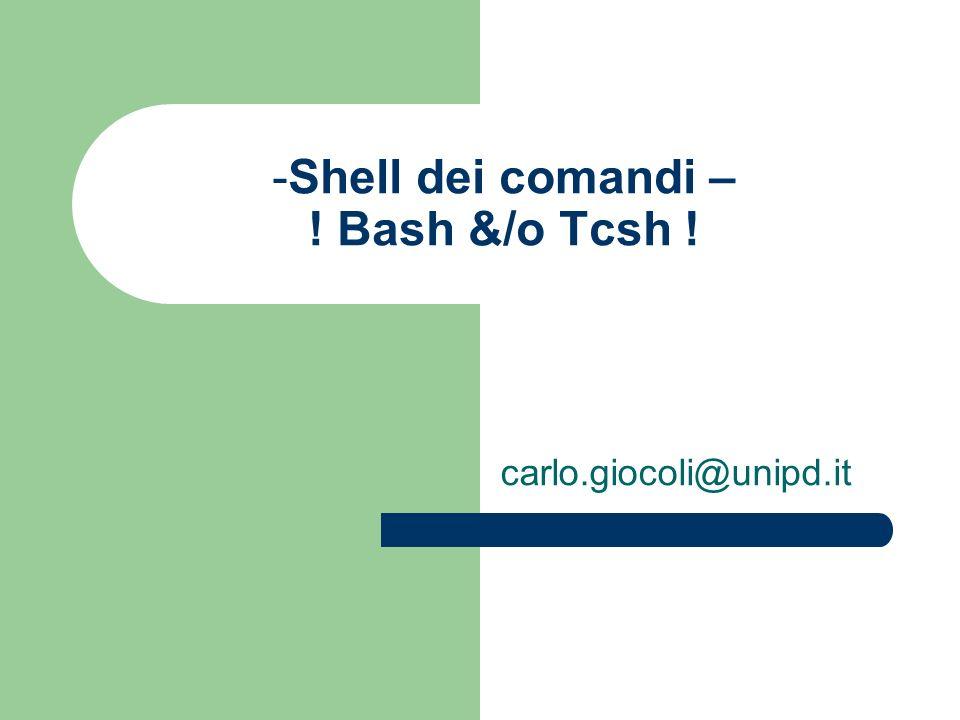 Shell dei comandi – ! Bash &/o Tcsh !